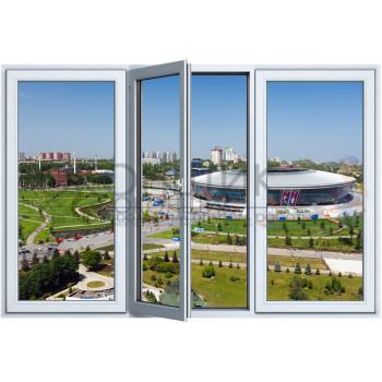 Трехстворчатое окно с одним открыванием 2-камеры PLAFEN T-LINE® (AXOR)