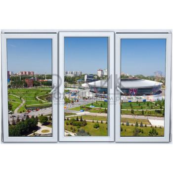 Трехстворчатое окно с двойным открыванием PLAFEN C-LINE® (ROTO)