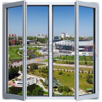 Двухстворчатое окно с двойным открыванием 2-камеры DECEUNINCK ECO 60® (AXOR)
