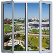 Двухстворчатое окно с двойным открыванием 2-камеры ALUPLAST IDEAL® 4000 (AXOR)