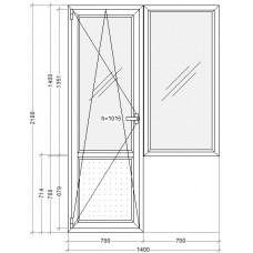 Балконный блок с узким глухим окном PLAFEN C-line® (AXOR)