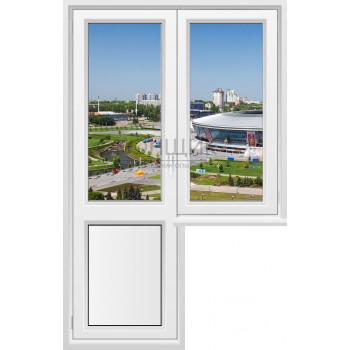 Балконный блок с узким глухим окном 2-камеры DECEUNINCK ECO 60® (ROTO)
